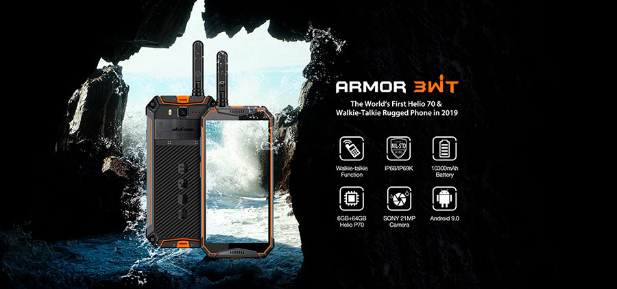 Ulefone Armor 3WT (6/64Gb + Рация) Black - это противоударный смартфон на борту у которого рация, NFC, аккумулятор 10300 мА·ч и защита от воды