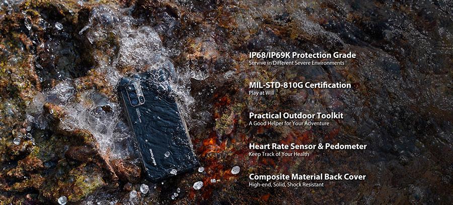 Ulefone Armor 7 8/128GB Black выполнен в корпусе из металла и пластика, а степень защиты соответствует международным стандартам IP68/IP69K и MIL-STD-810G
