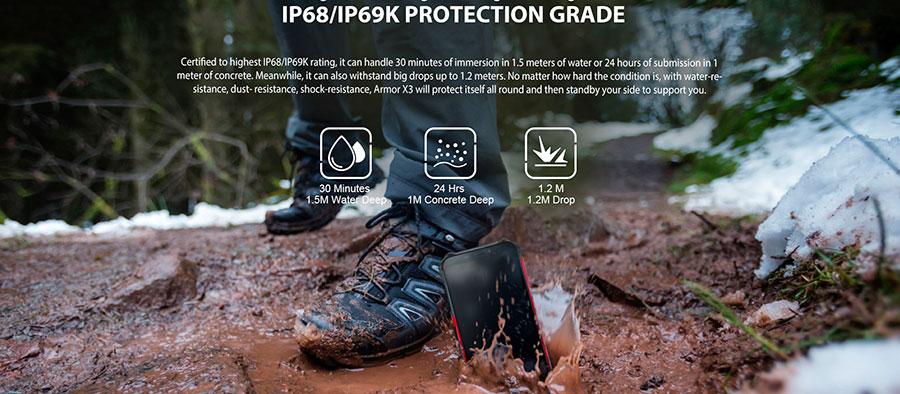 Ulefone Armor X3 2/32GB Orange конструкция Armor X3, является лучшей реализацией IP68 стандарта