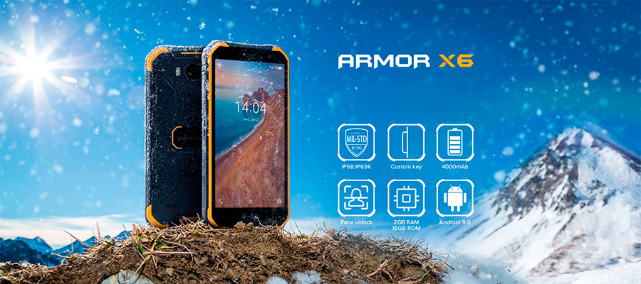 Ulefone Armor X6 2/16GB Black выглядит современно и довольно строго, а потому он скорее понравится мужчинам.
