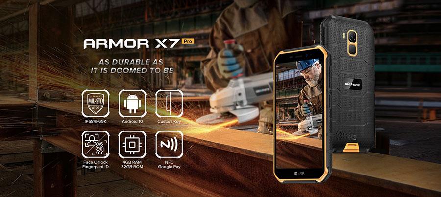 Ulefone Armor X7 Pro 4/32GB Yellow улучшенная версия смартфона Ulefone Armor X7 - удвоили количество памяти