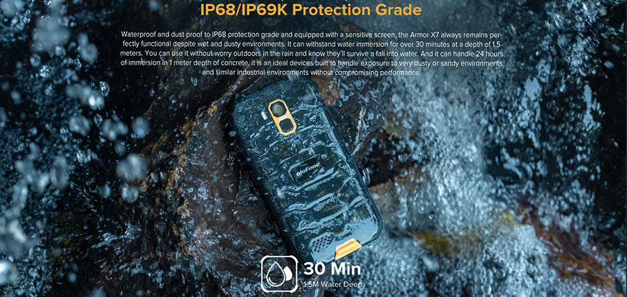 Ulefone Armor X7 Pro 4/32GB Black защиту обещают серьёзную - IP68, IP69K
