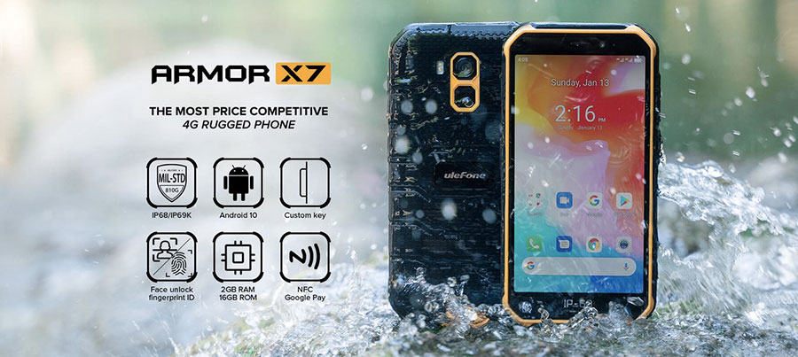 Ulefone Armor X7 2/16GB Black на процессоре MediaTek Helio A20