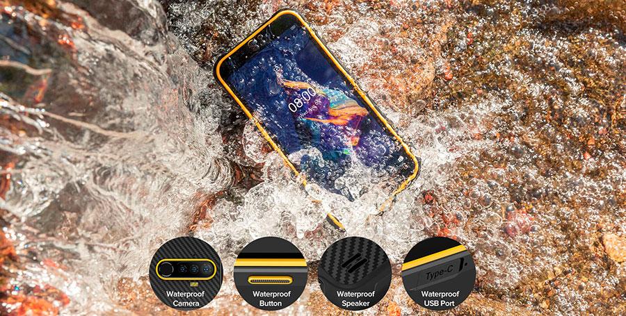 Ulefone Armor X8 4/64GB Yellow оснащен 5,7-дюймовым ЖК-экраном с разрешением HD+
