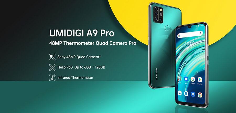 Umidigi A9 Pro 4/64Gb Black 6,3-дюймовый дисплей FHD+ (2340 × 1080 пикселей), чипсет Mediatek Helio P60 с графическим ускорителем Mali G72 MP3