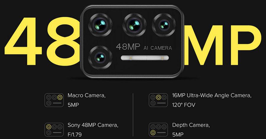 Umidigi Bison 6/128GB Yellow в защищенном от внешних воздействий дизайне и оснащенным 48 МП квадрокамерой, а также аккумулятором ёмкостью 5000 мАч