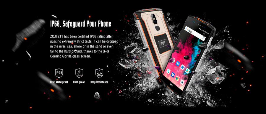 Защищенный смартфон ZOJI Z11 Orange получил батарею 10 000 мАч